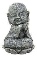 "Ebros Zen Meditating Japanese Jizo Monk W/ Tilted Head On Lotus Statue 4"" Tall"