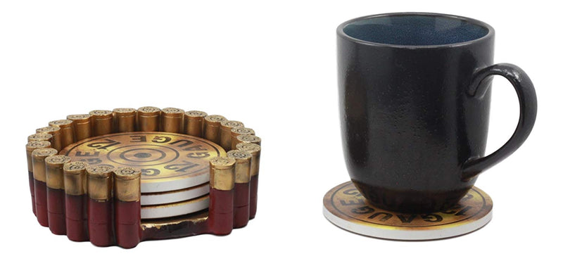 Ebros Western 12 Gauge Shotgun Shells Hunter's Ammo Round Coaster Set With 4 Coasters And Holder Decorative Figurine
