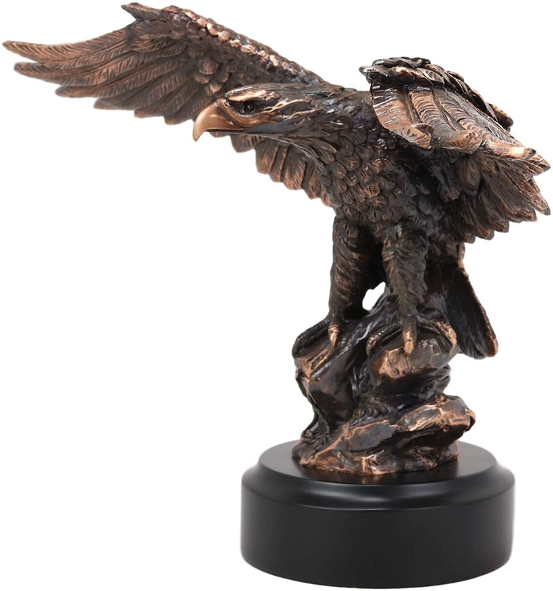 Patriotic American Bald Eagle Bronze Electroplated Resin Figurine With Base