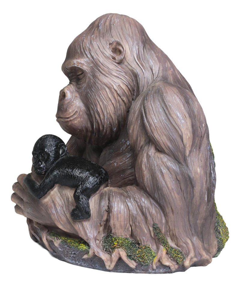 Tropical Rainforest Western Silverback Gorilla Cradling Baby Faux Wood Statue
