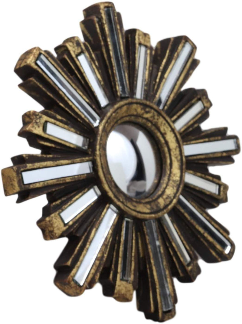 Rustic Vintage Gold Solar Sun With Sunburst Rays Round Wall Decor With Mirrors
