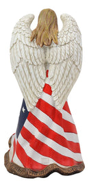 "Ebros 9.5"" H God Bless America Beautiful USA Angel in Pledge of Allegiance Dressed in American Flag Colors Statue As Patriotic 4th of July Independence Memorial Day Religious Faith Accent Decor"