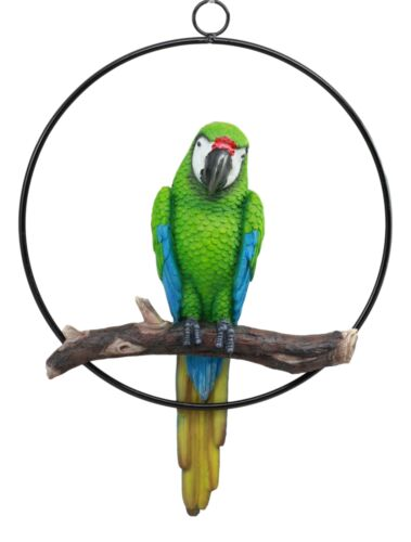 "Ebros Patio Home Garden Hanging Scarlet Macaw Parrot Perching on Branch in Metal Round Ring Figurine Sculpture Nature Lovers Tropical Bird Collectors Decor 13.5"" H (Green)"