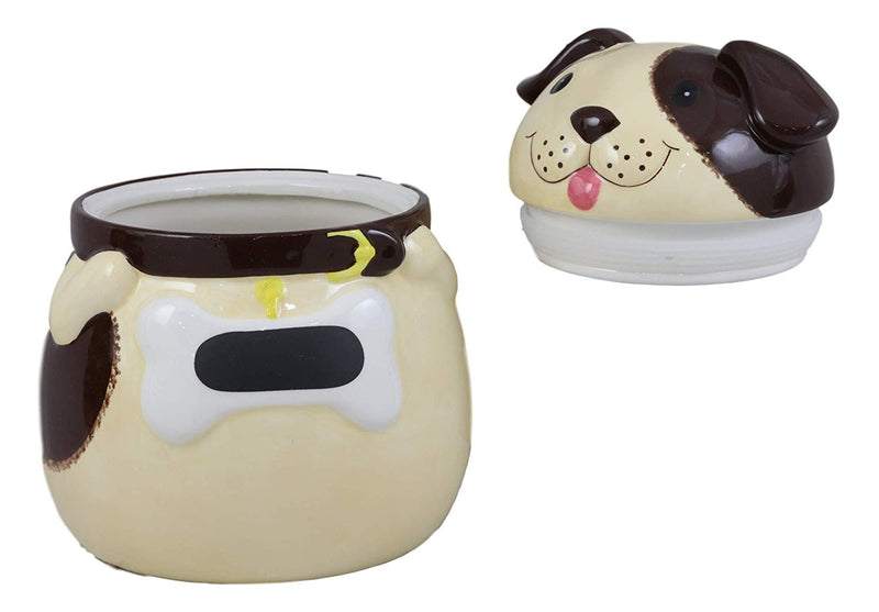 "Ebros Ceramic Adorable Fat Puppy Dog With Brown Eye Patch Cookie Jar 7.25""Tall Decorative Kitchen Accessory Figurine As Decor of Dogs Puppies With Painted Bone Collar"