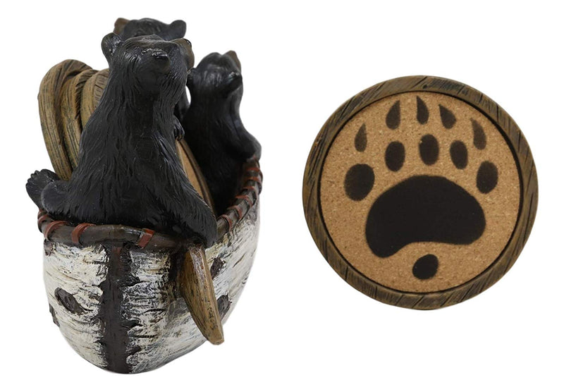"Ebros Gift Rustic Woodlands 3 Black Bears Family On Paddle Canoe Boat Bear Paw Coaster Set 4 Round Coasters with Figurine Holder 7"" Long Cabin Lodge Mountain Lake Side Home Decor Kitchen Accent"