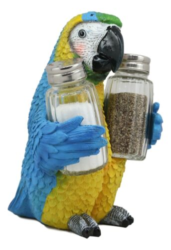 Tropical Rainforest Blue Scarlet Macaw Parrot Salt Pepper Shakers Holder Statue