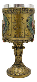 Ebros Ancient Egyptian Horus Falcon Larger 16oz Cylindrical Wine Goblet Chalice