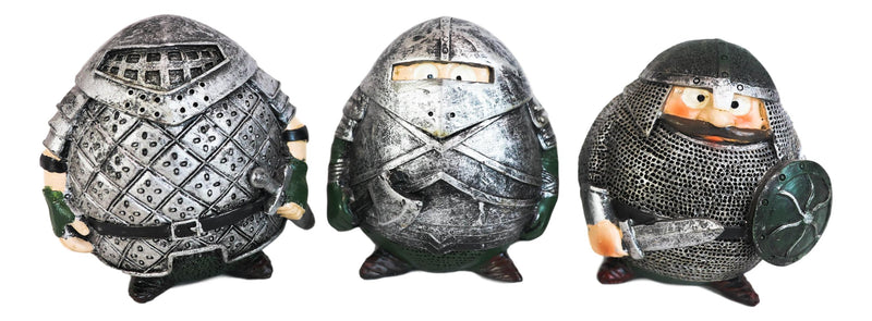 Fat Chibi Medieval Gladiator Knights With Sword Axe And Shield Figurine Set of 3