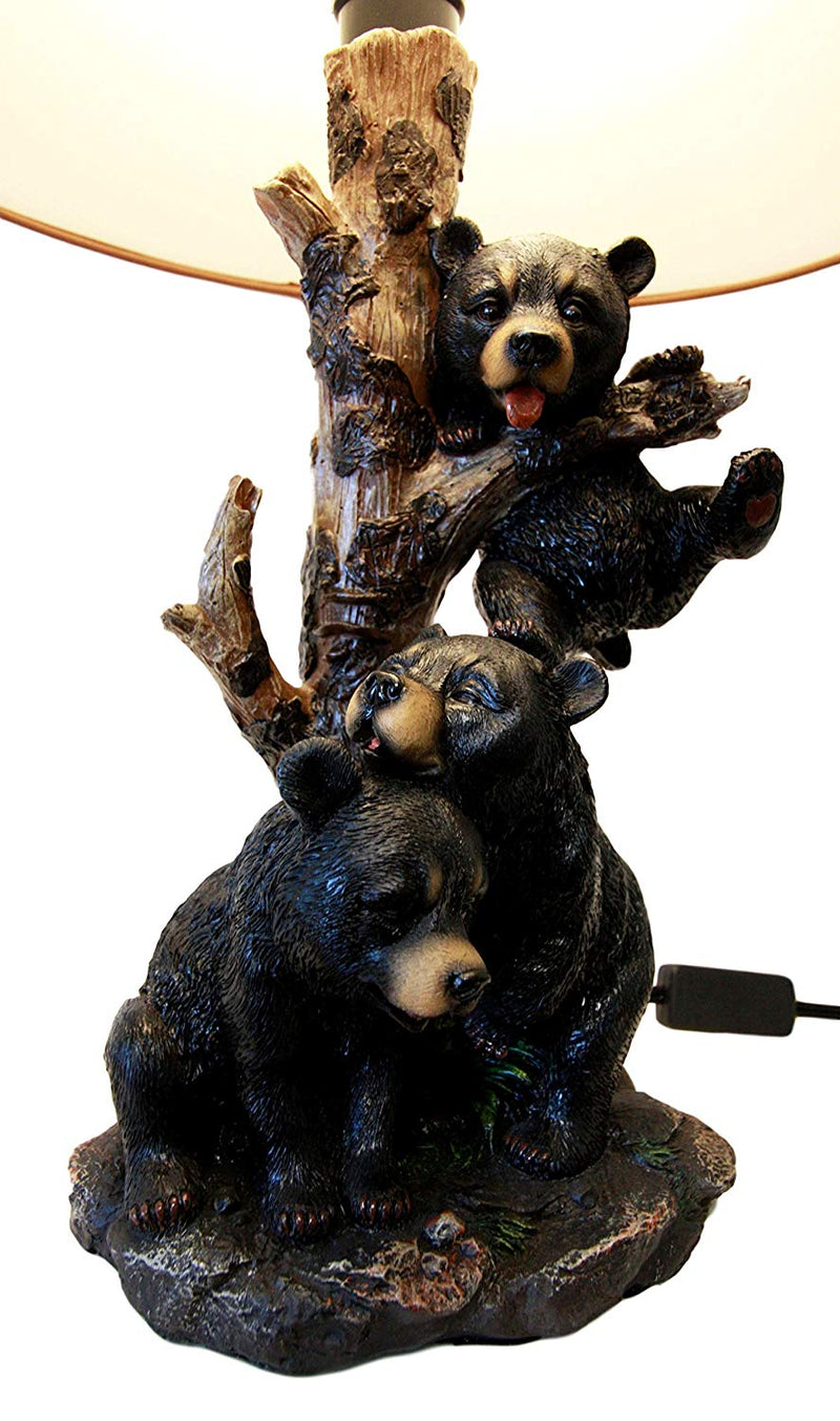 Ebros Wildlife Whimsical Climbing Black Bear Cubs Table Lamp Statue Decor With Bear Face Printed Shade Three Cuddly Sibling Bears Little Rascals Playing By Tree Desktop Lamp
