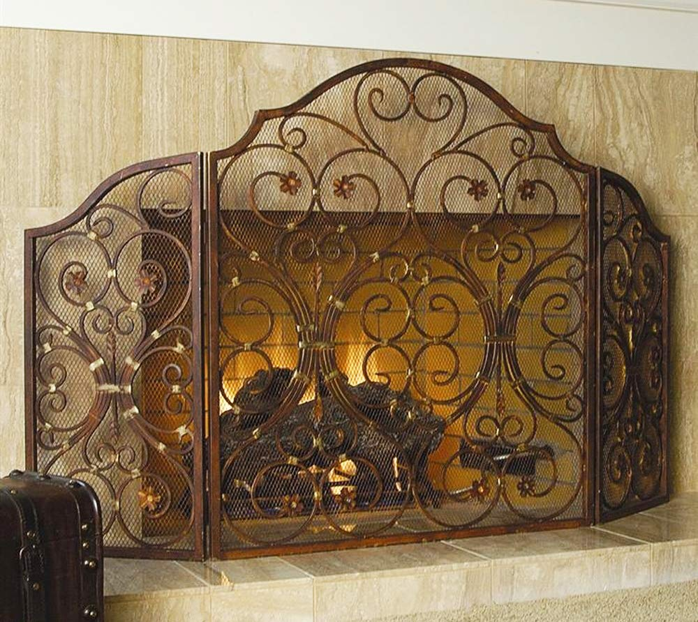 Ebros Gift Large 53 W Iron Rustic Vintage Victorian Floral Lace 3 Panel Fireplace Screen