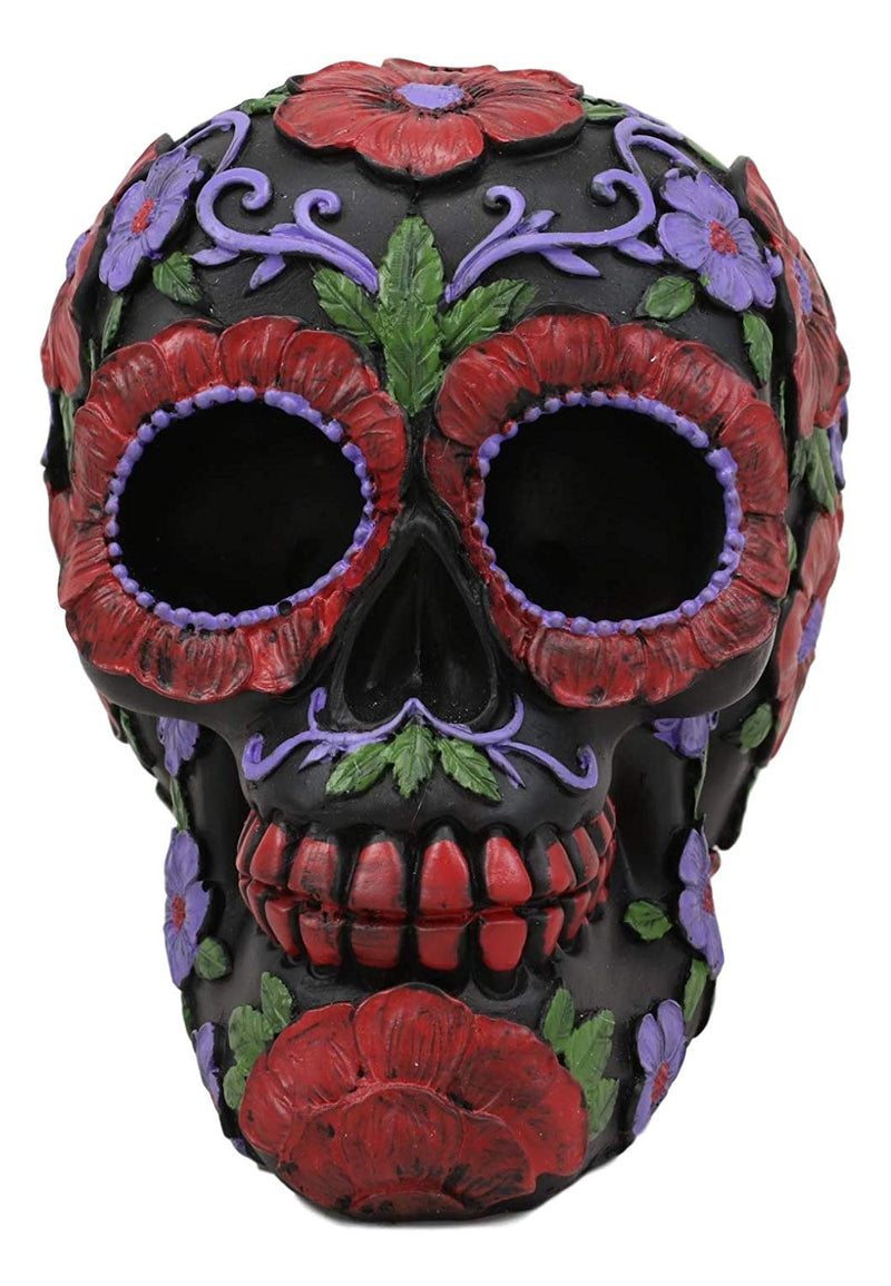 "Ebros Black Day of The Dead Floral Blooms Sugar Skull Figurine DOD Skulls Statue 6"" Long As Halloween Ossuary Macabre Decor Collectible (Summer Red and Purple Flowers with Green Petals)"