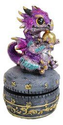 Purple Baby Wyrmling Dragon Holding Egg Decorative Kitchen Timer Figurine 60 Min
