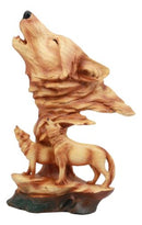 "Ebros Wildlife Scene Howling Wolf Head Bust Figurine 12"" Tall Wolf Pack Statue in Faux Wood Finish"