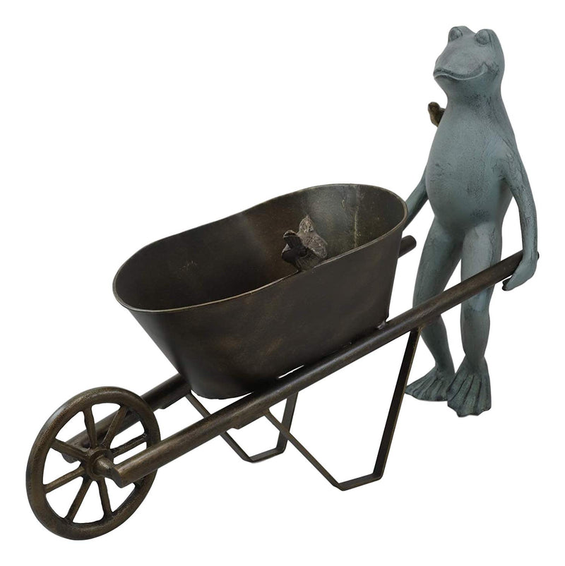 "Ebros Gift 24"" Wide Aluminum Rustic Whimsical Gardening Green Frog with Birds Pushing Wheelbarrow Cart Flowers Or Plants Planter Garden Statue Decorative Frogs and Toads Accent Decor"
