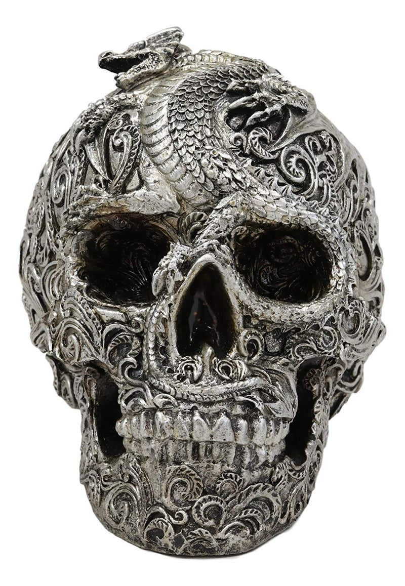 "Ebros Gift Drogon Flying Dragon On Tribal Le Fleur Tattoo Skull Statue 7.5"" Long Halloween Decorative Figurine Might and Magic for Medieval Fans Dungeons and Dragons Fantasy Decor"