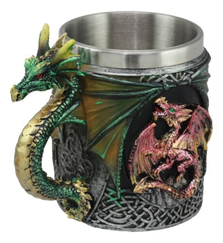 Mythical Fantasy Fire And Earth Dragon With Celtic Knotwork Novelty Coffee Mug
