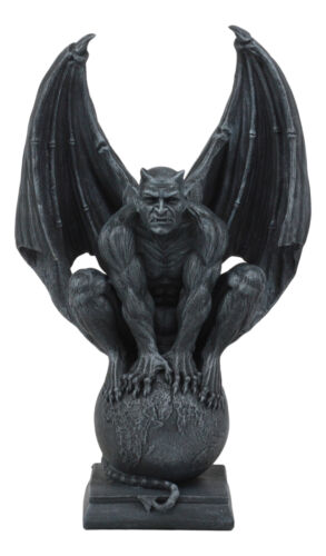 Devil's Carnal Grip On The World Lucifer Satan Crouching On The Globe Statue