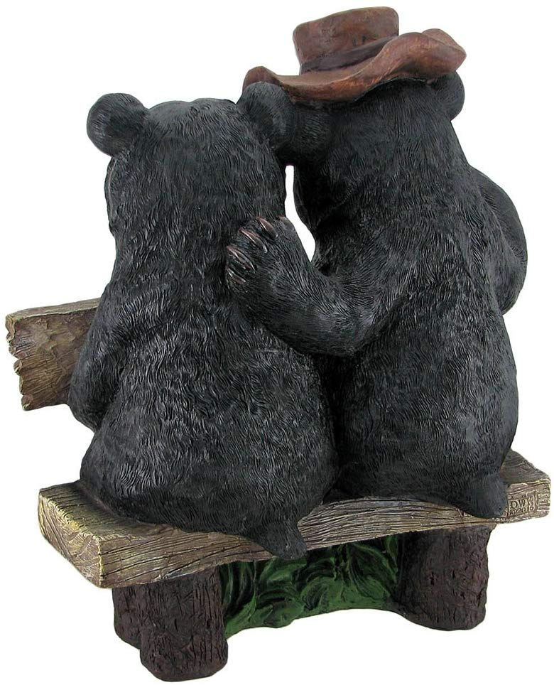 Ebros So Happy Together Black Bears Welcome Garden Statue With Solar LED Lantern
