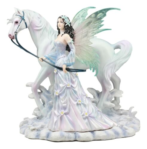 "Ebros Aurora Borealis Winter Fairy with Sacred White Horse Statue 10"" Long by Nene Thomas Decorative Mythical Fantasy Figurine Collectible"