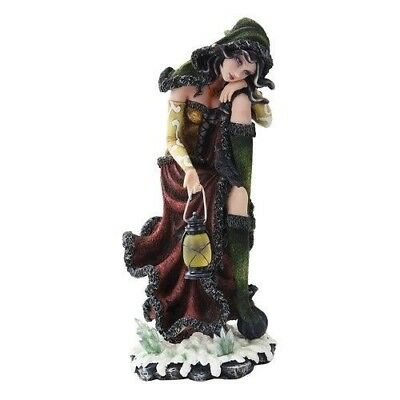 Ebros 15.25 Inch Sun and Moon Sitting Witch with Lantern Statue Figurine