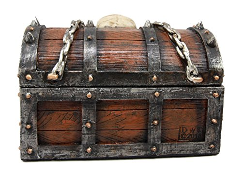 "Ebros Ebros Chained Skull On Pirate Treasure Chest Jewelry Trinket Box 6"" Wide"