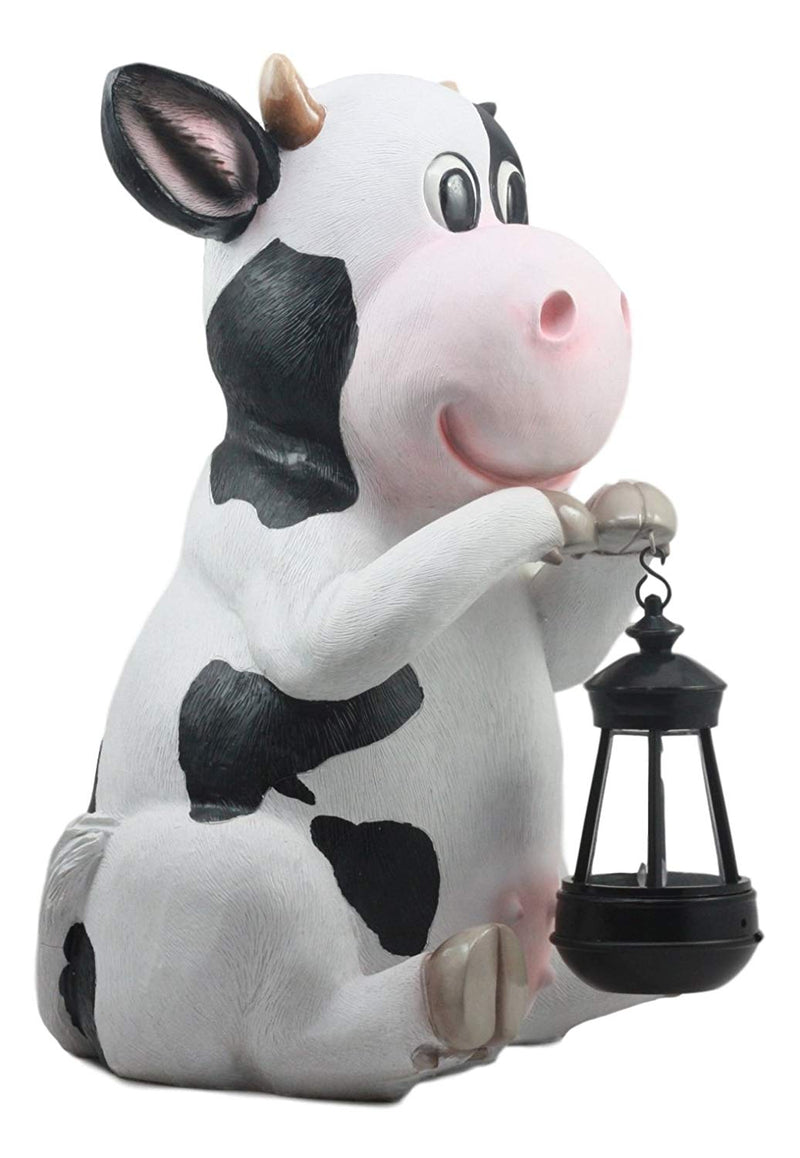Ebros Country Animal Farm Whimsical Bovine Holstein Cow Statue With Solar LED Lantern Light Betty Sue Garden Greeter Decor Path Lighter Night Light Sculpture