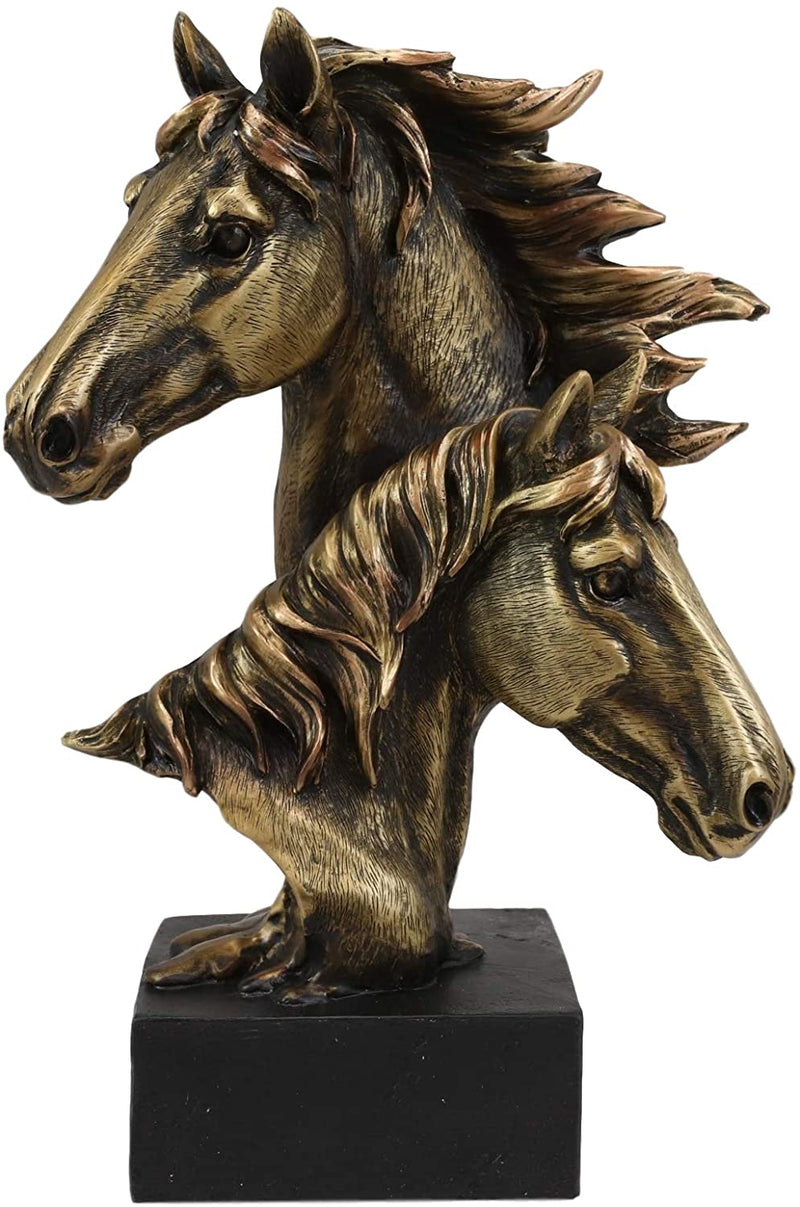 "Ebros Gift 9"" Tall Western Horse and Foal Head Bust Figurine with Black Pedestal"