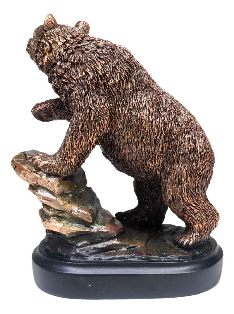 "Grizzly Bear Climbing On River Rock Statue 6.25""Tall Bronze Electroplated Resin"