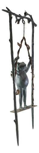 "Ebros Gift 36"" Tall Aluminum Metal Whimsical Acrobatic Stunt Frog On Vine Swing Garden Stake Statue 'Child's Play' Patio Pool Pond Lawn Frogs Decorative Sculpture Accent"