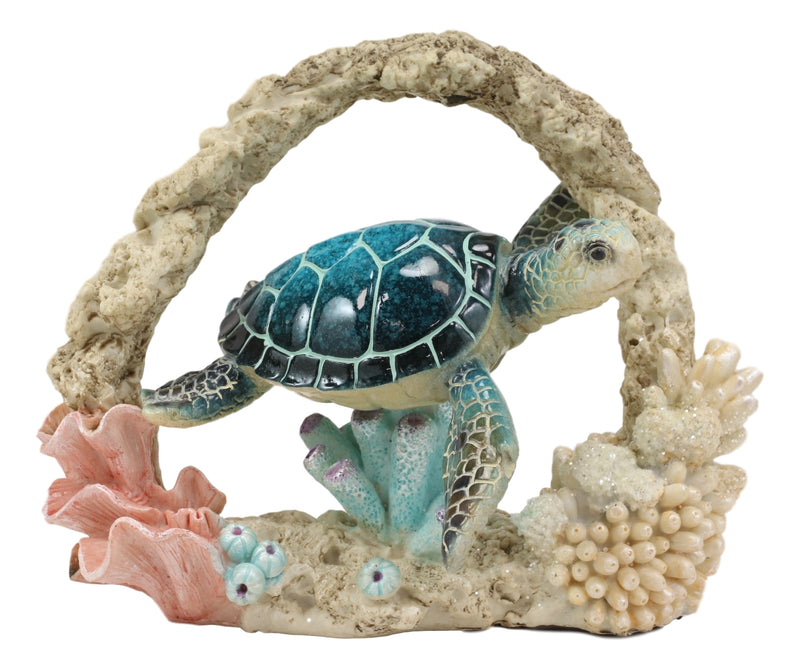 Larger Nautical Marine Blue Shell Sea Turtle Swimming By Coral Reef Decor Statue