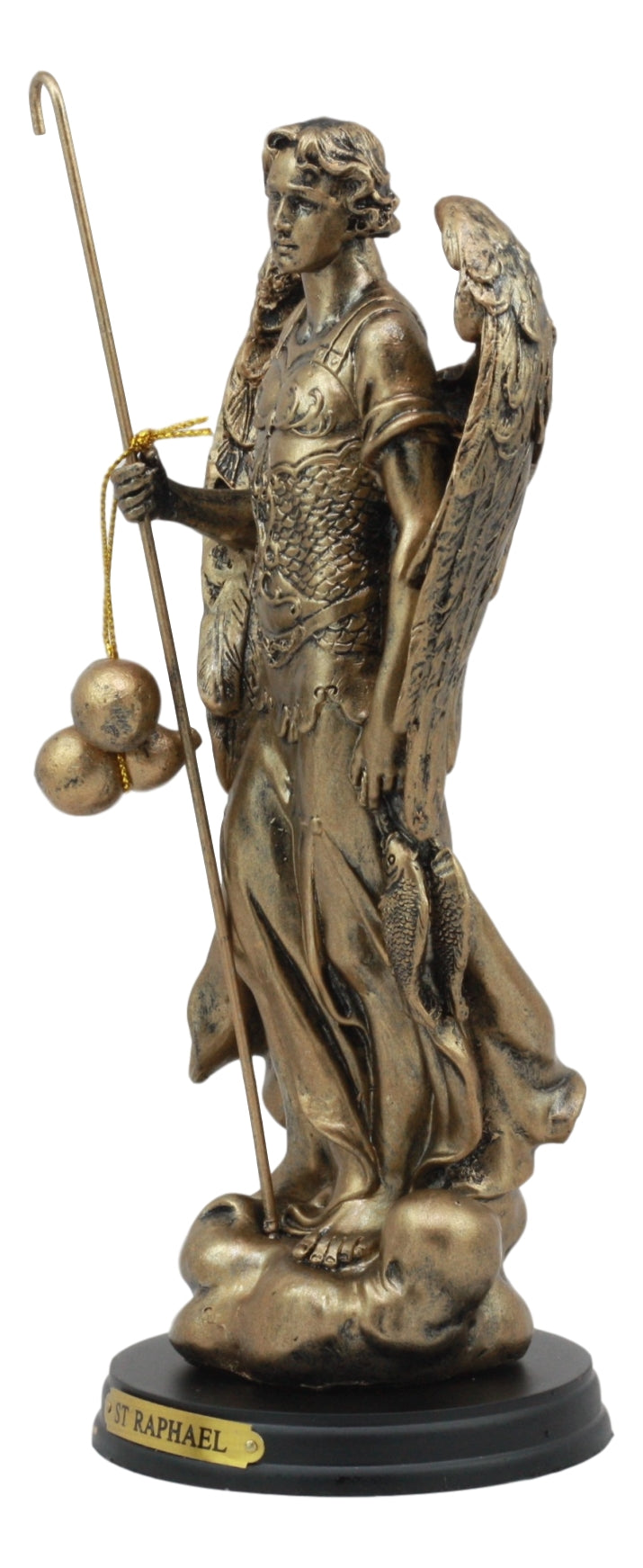 "Ebros Byzantine Eastern Orthodox Catholic Church Archangel of The Angelic Council Statue 8"" Tall Figurine with Brass Name Plate Wooden Base … (Raphael Healing Of God )"