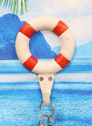 "Ebros Gift 6.5""Tall Cast Iron Nautical Coastal Sailor Lifeguard Life Ring Buoy White With Red Stripes Wall Hook (1)"
