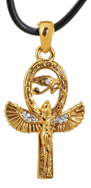 Ebros Golden Isis with Open Wings Ankh Amulet with Eye of Horus Pendant Necklace