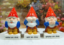 Gnomes In See Hear Speak No Evil Ceramic Salt Pepper Shakers & Toothpick Holder