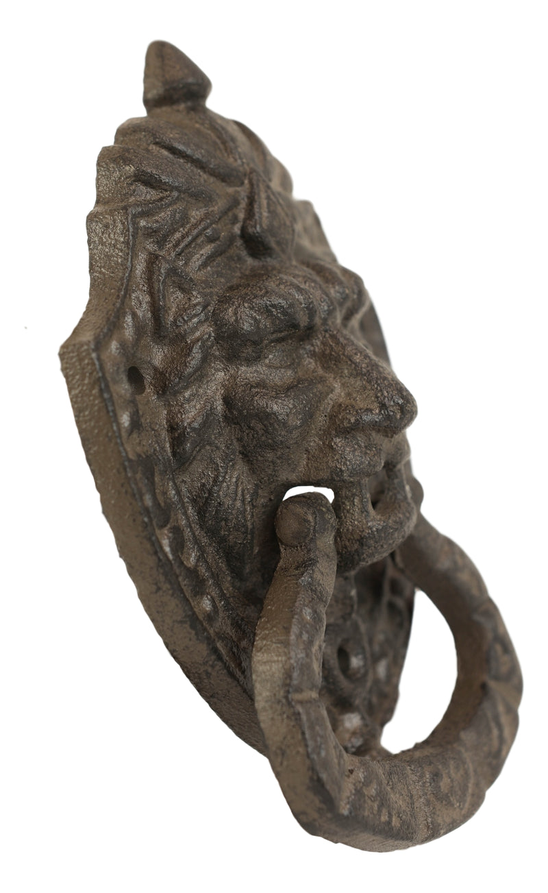 Cast Iron Rustic Royal Venetian Lion Head Decorative Door Knocker Gothic Accent