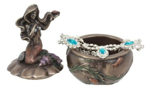 Ebros Mermaid Sitting On Oyster Sea Shell Small Jewelry Decorative Trinket Box