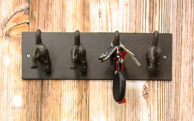 "Ebros Cast Iron Whimsical Rustic Wagging Dog Tails 4 Pegs Quad Wall Hooks 15.25"" Wide Hanger Dogs Themed Wall Mount Leash Coat Hat Keys Hook Decor Hanging Sculpture Plaque"