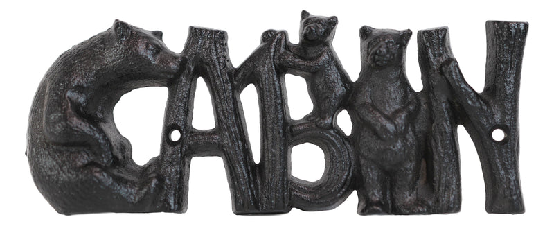 Rustic Western Black Bears And Cub With Logs CABIN Cast Iron Wall Sign Decor