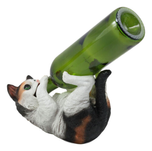 Ebros Feline Calico Kitty Cat Wine Bottle Holder Caddy Figurine for Whimsical Tabletop Wine Racks or Animal Statues & Kitten Figurines As Birthday Gifts Crazy for Cat Lovers (Calico)