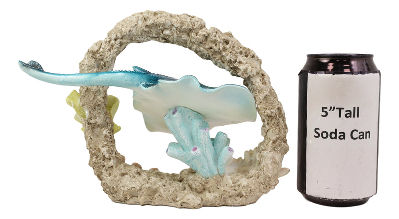 Larger Nautical Marine Blue Stingray Fish Swimming By Coral Reef Decor Statue