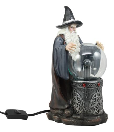 Merlin The Wizard Large Spellcaster Sorcerer Electric Plasma Ball Lamp  Statue