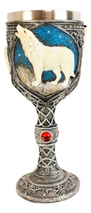 Howling White Wolf In Starry Night Wine Chalice Goblet With Celtic Knotwork 7oz