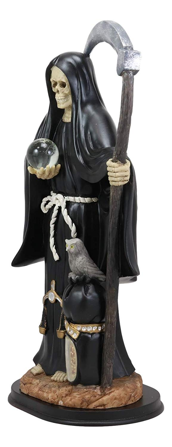 "Ebros Gift Large 16.75"" Tall Holy Death Santa Muerte Holding Scythe, Glass Globe with Scales of Justice and Owl in Tunic Robe Statue Figurine (White) (BLACK) - Ebros Gift"