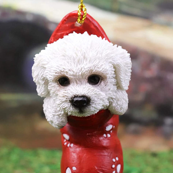 Ebros White Bichon Frise Puppy Dog In The Sock Small Hanging Ornament Ebros Gift