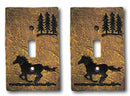 Set of 2 Western Horse And Pine Trees Silhouette Wall Single Toggle Switch Plate