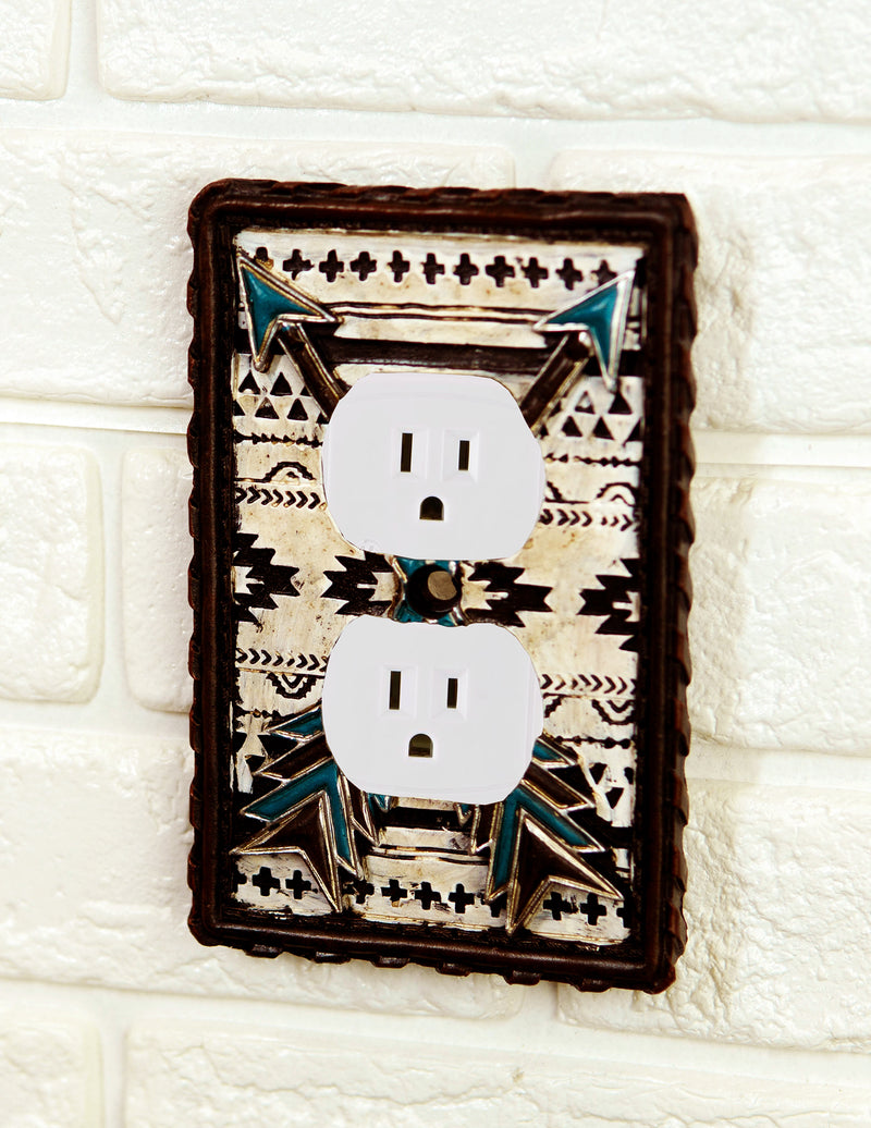 Set Of 2 Navajo Crossed Turquoise Arrows Wall Double Receptacle Outlet Plates