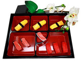"Ebros Gift Japanese 6 Compartments Two Piece Bento Box Lacquered Plastic Serving or Display Platter Tray 13.75"" by 10"""