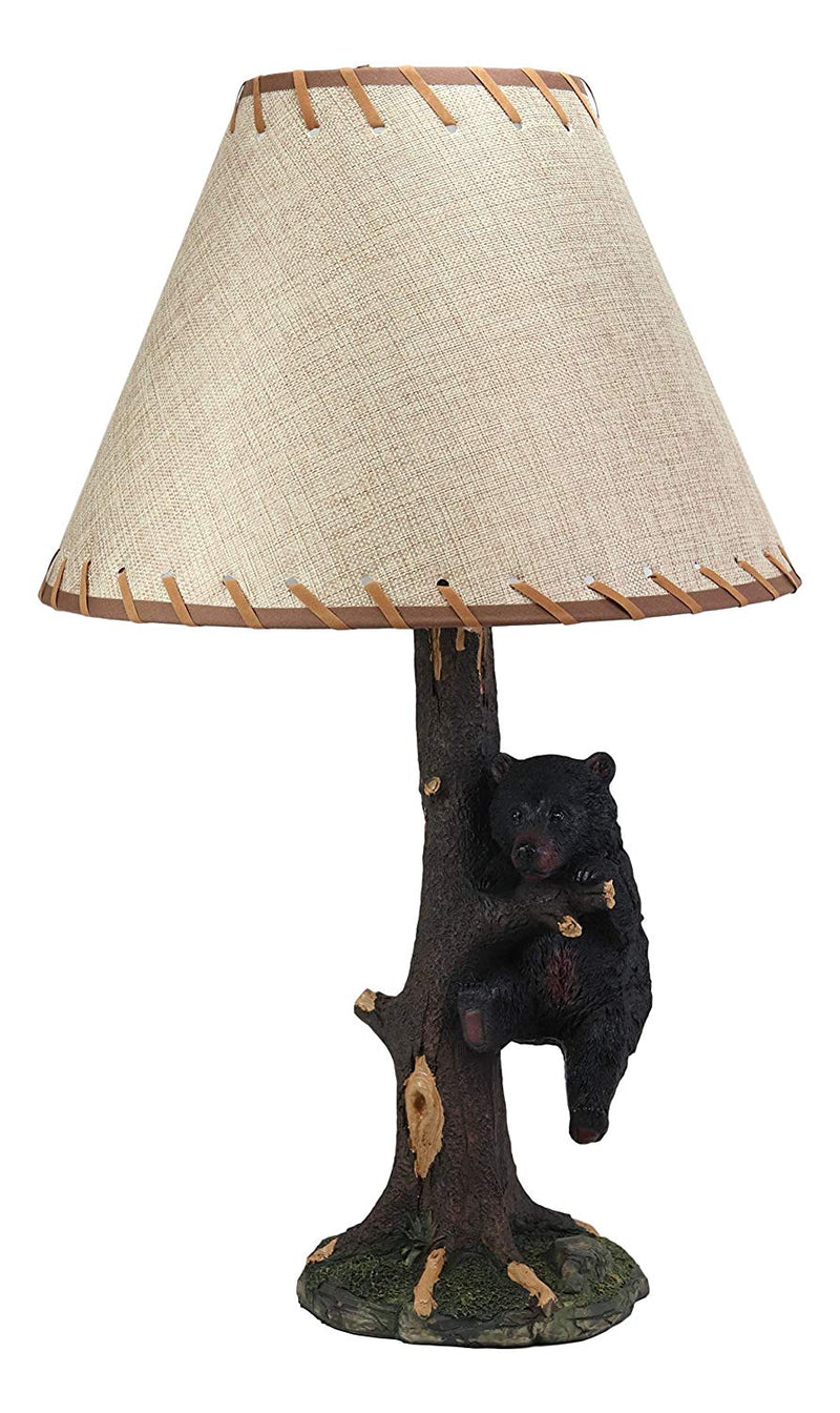 "Ebros Virtue of Perseverance Whimsical Black Bear Hanging On Tree Branch Table Lamp Statue with Shade 22""High Wildlife Rustic Cabin Lodge Decor Forest Bears Family Desktop Lamps"