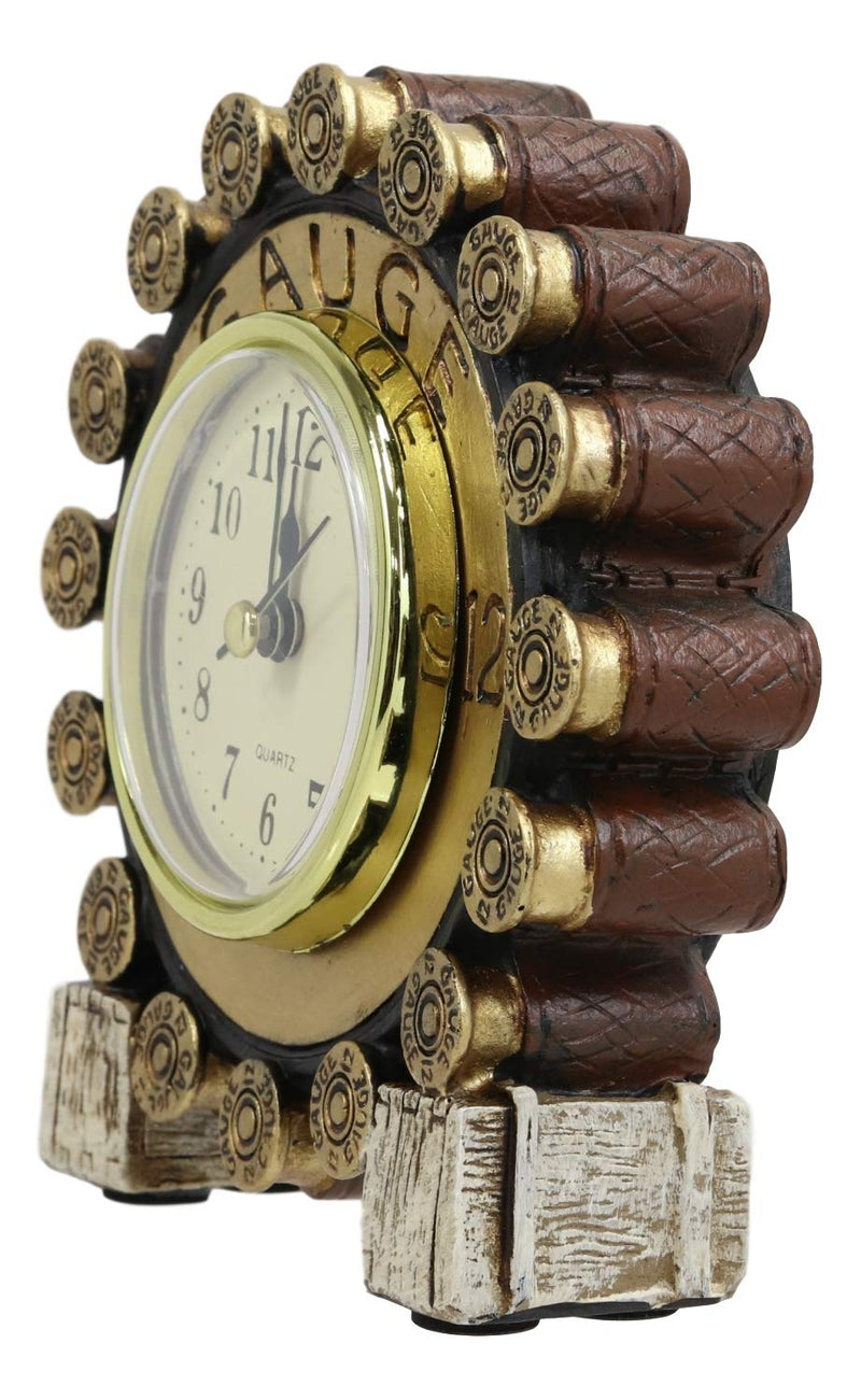 "Ebros Western 12 Gauge Shotgun Shells Rounds Designer Resin Analog Table Clock 4.75"" Tall Decorative Home and Office Rustic Hunters Cabin Lodge Accent Clocks Bedside Desktop Shelves Decor"