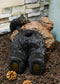 Large Whimsical Rustic Forest Black Bear Butt Stuck In Rock Hole With Cub Statue